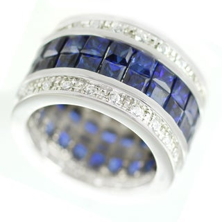 One-of-a-kind Michael Valitutti Princess Cut Sapphire and White Zircon Eternity Band Ring