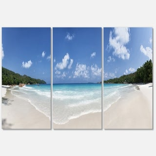 Blue Seychelles Island Panorama - Large Seascape Metal Wall At - 36Wx28H