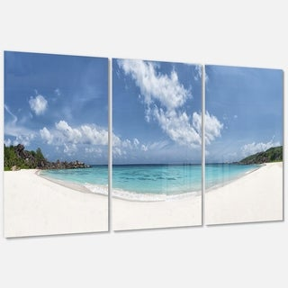 Majestic Seychelles Beach Panorama - Large Seascape Metal Wall At - 36Wx28H