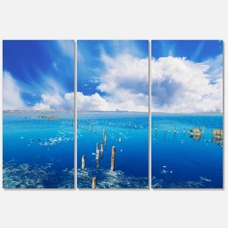 Beautiful Blue Salk Lake - Large Seascape Metal Wall At - 36Wx28H