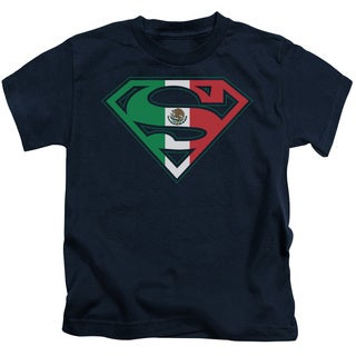 Superman/Mexican Shield Short Sleeve Juvenile Graphic T-Shirt in Navy