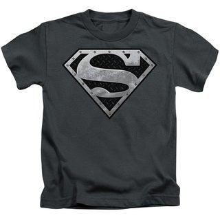 Superman/Super Metallic Shield Short Sleeve Juvenile Graphic T-Shirt in Charcoal