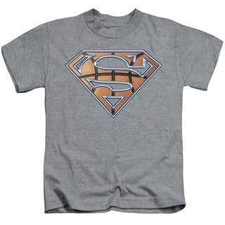 Superman/Basketball Shield Short Sleeve Juvenile Graphic T-Shirt in Heather