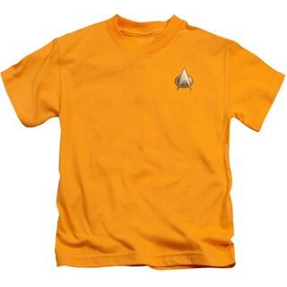 Star Trek/Tng Engineering Emblem Short Sleeve Juvenile Graphic T-Shirt in Gold
