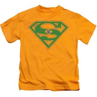 Superman/Brazil Shield Short Sleeve Juvenile Graphic T-Shirt in Gold