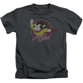 Mighty Mouse/Mighty Circle Short Sleeve Juvenile Graphic T-Shirt in Charcoal