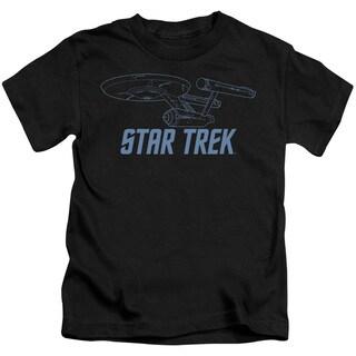Star Trek/Enterprise Outline Short Sleeve Juvenile Graphic T-Shirt in Black