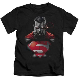 Superman/Heat Vision Charged Short Sleeve Juvenile Graphic T-Shirt in Black
