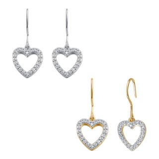 Divina 14k Gold Overlay Diamond Accent Heart Hoop Fashion Earrings (I-J,I2-I3)