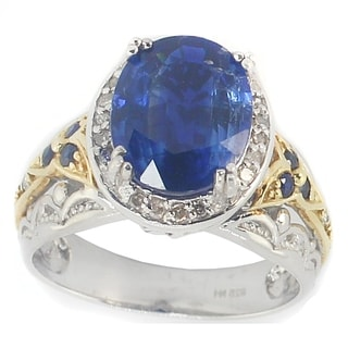 One-of-a-kind Michael Valitutti Kyanite with Blue Sapphire and Diamonds Cocktail Ring