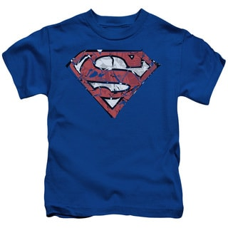 Superman/Ripped and Shredded Short Sleeve Juvenile Graphic T-Shirt in Royal