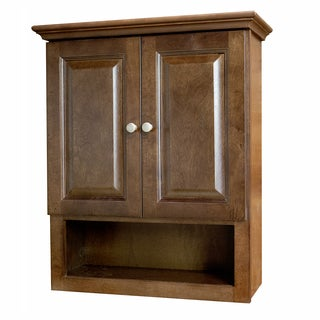 Richmond Auburn Stained Wood and Brushed Nickel Bathroom Cabinet