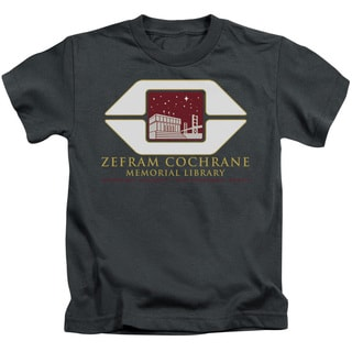 Star Trek/Cochrane Library Short Sleeve Juvenile Graphic T-Shirt in Charcoal