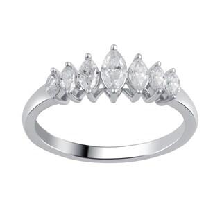 Divina 10k White Gold 1/2ct TDW 7-stone Diamond Wedding Band (I-J, I2-I3)