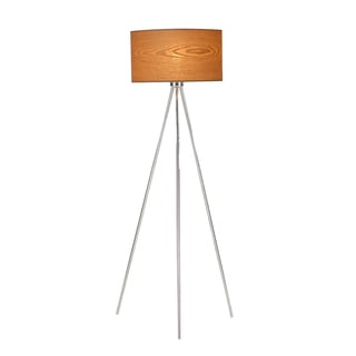 Illume Chrome Aluminum/Wood Tripod Floor Lamp With Ash Veneer Shade