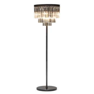 Illume Chandelier Antique Black Floor Lamp with Crystal Pendant Shade