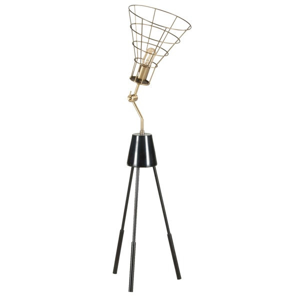 Modern Black and Gold Iron and Aluminum Abstract Photographers Tripod Table Lamp