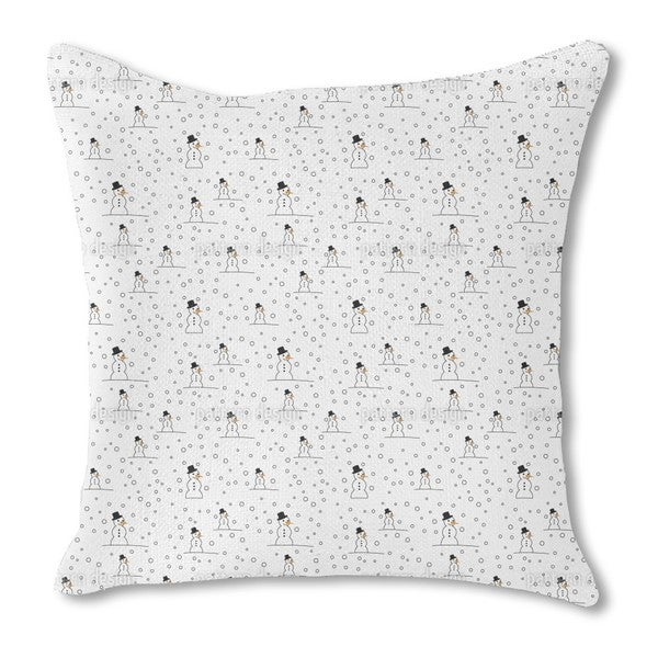 Snowman Fun Burlap Pillow Double Sided