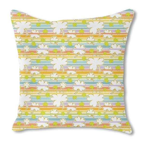 Lucky Clover on Stripes Burlap Pillow Double Sided