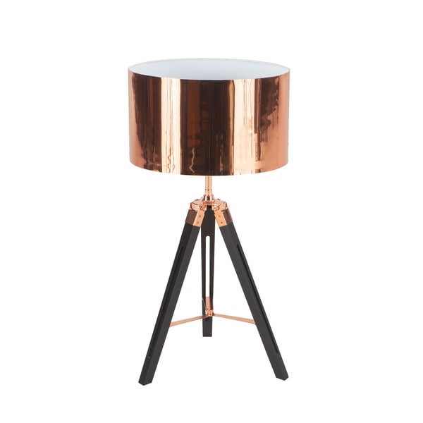 Black/Coppertone Wood/Steel Tripod Table Lamp