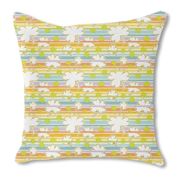 Lucky Clover on Stripes Burlap Pillow Single Sided