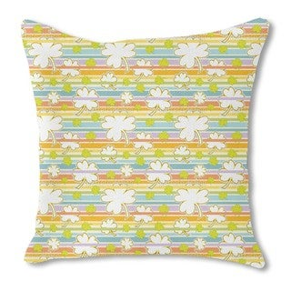Lucky Clover on Stripes Burlap Pillow Single Sided
