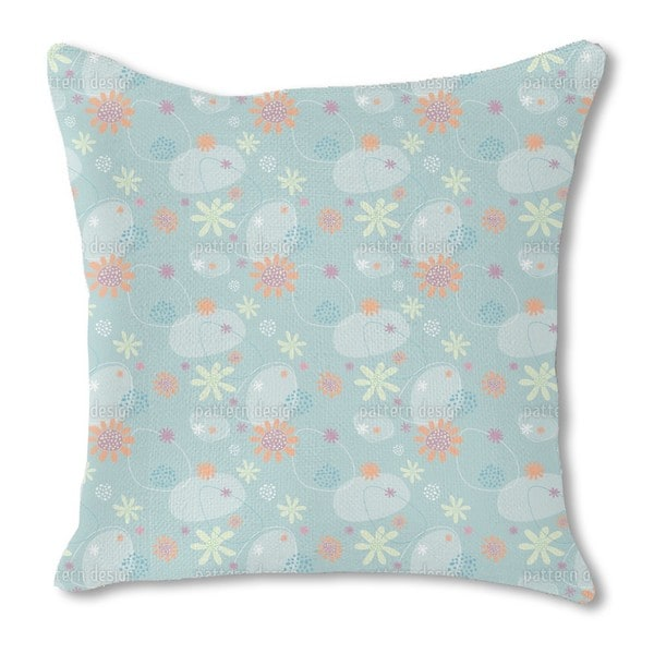 Flowers Mathilde Burlap Pillow Single Sided