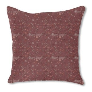 Circles in Red Burlap Pillow Single Sided