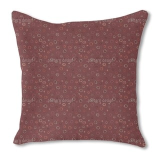 Circles in Red Burlap Pillow Double Sided