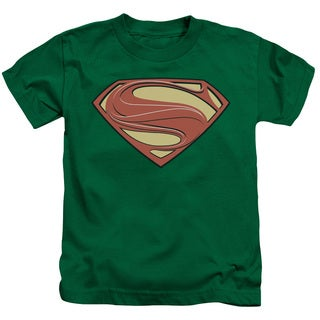 Man Of Steel/New Solid Shield Short Sleeve Juvenile Graphic T-Shirt in Kelly Green