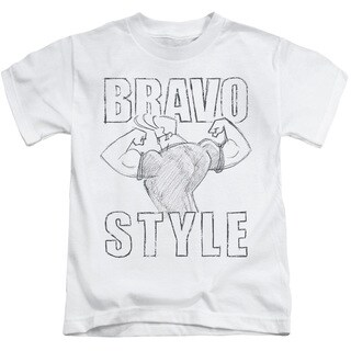 Johnny Bravo/Bravo Style Short Sleeve Juvenile Graphic T-Shirt in White