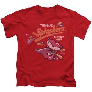 Dubble Bubble/Distress Logo Short Sleeve Juvenile Graphic T-Shirt in Red