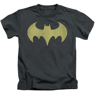 DC/Batgirl Logo Distressed Short Sleeve Juvenile Graphic T-Shirt in Charcoal