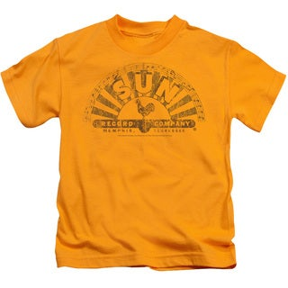 Sun/Worn Logo Short Sleeve Juvenile Graphic T-Shirt in Gold