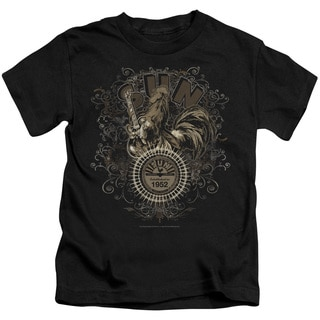 Sun/Scroll Around Rooster Short Sleeve Juvenile Graphic T-Shirt in Black