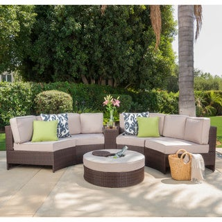 Christopher Knight Home Madras Zanzibar Outdoor Wicker 6-piece Sectional Set with Ottoman