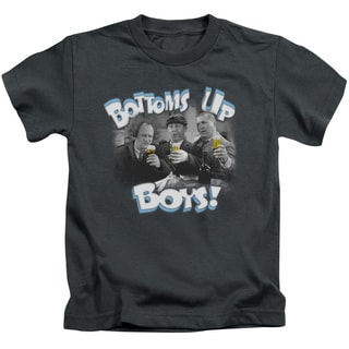 Three Stooges/Bottoms Up Short Sleeve Juvenile Graphic T-Shirt in Charcoal