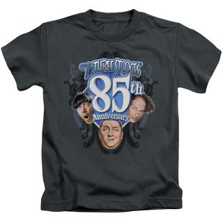 Three Stooges/85Th Anniversary 2 Short Sleeve Juvenile Graphic T-Shirt in Charcoal