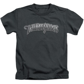 Three Stooges/Metallic Logo Short Sleeve Juvenile Graphic T-Shirt in Charcoal