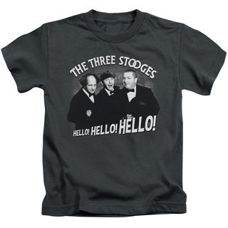 Three Stooges/Hello Again Short Sleeve Juvenile Graphic T-Shirt in Charcoal
