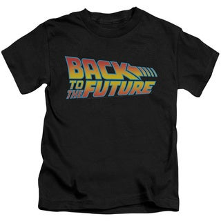 Back To The Future/Logo Short Sleeve Juvenile Graphic T-Shirt in Black