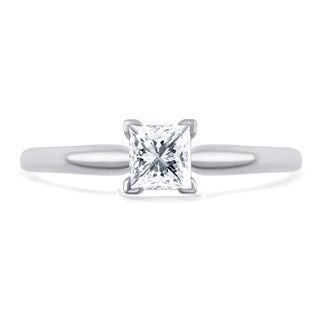 Divina 14k Gold 1/2ct TDW Princess-Cut Solitaire Diamond Engagement Ring