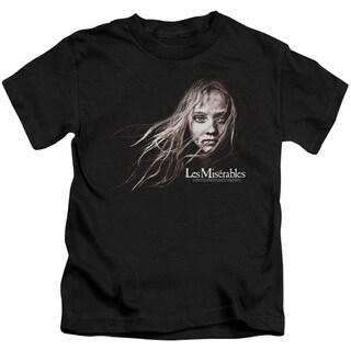 Les Miserables/Cosette Face Short Sleeve Juvenile Graphic T-Shirt in Black