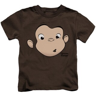 Curious George/George Face Short Sleeve Juvenile Graphic T-Shirt in Coffee
