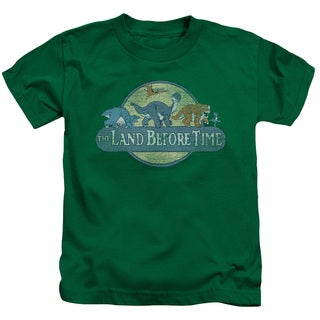 Land Before Time/Retro Logo Short Sleeve Juvenile Graphic T-Shirt in Kelly Green