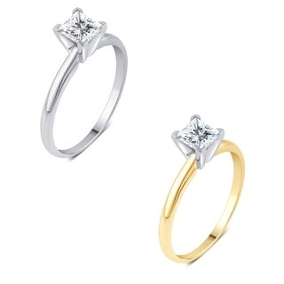Divina 14k Gold 3/4ct TDW Princess-cut Diamond Solitaire Engagement Ring