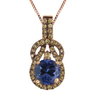 Divina 10k Rose Gold 3/4ct TGW Champagne Diamond and Tanzanite Pendant (I2-I3)