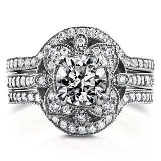 Annello by Kobelli 14k White Gold 1 5/8ct TDW Diamond 3-Piece Floral Antique Bridal Set (