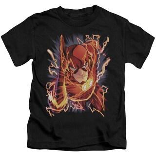 JLA/Flash #1 Short Sleeve Juvenile Graphic T-Shirt in Black
