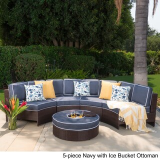 Madras Tortuga Outdoor Wicker Sectional Set with Ottoman by Christopher Knight Home (More options available)